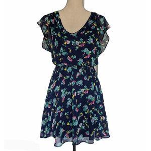 Lush Floral Sheer Short Sleeve Dress Blue Smalll